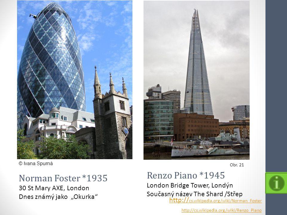 Renzo Piano *1945 Norman Foster *1935 London Bridge Tower, Londýn