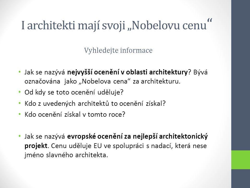 "I architekti mají svoji ""Nobelovu cenu"