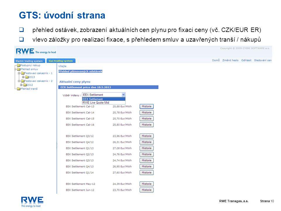 GTS: úvodní strana přehled ostávek, zobrazení aktuálních cen plynu pro fixaci ceny (vč. CZK/EUR ER)