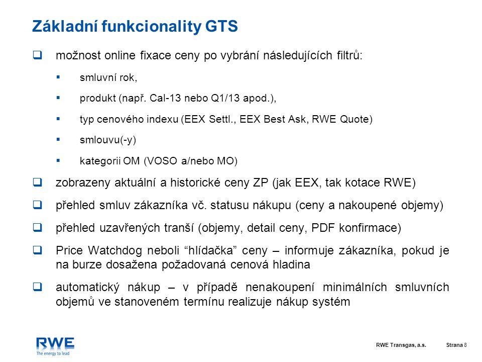 Základní funkcionality GTS