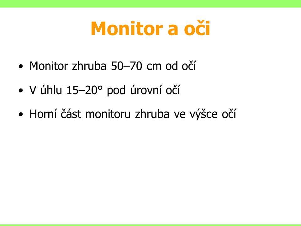 Monitor a oči Monitor zhruba 50–70 cm od očí