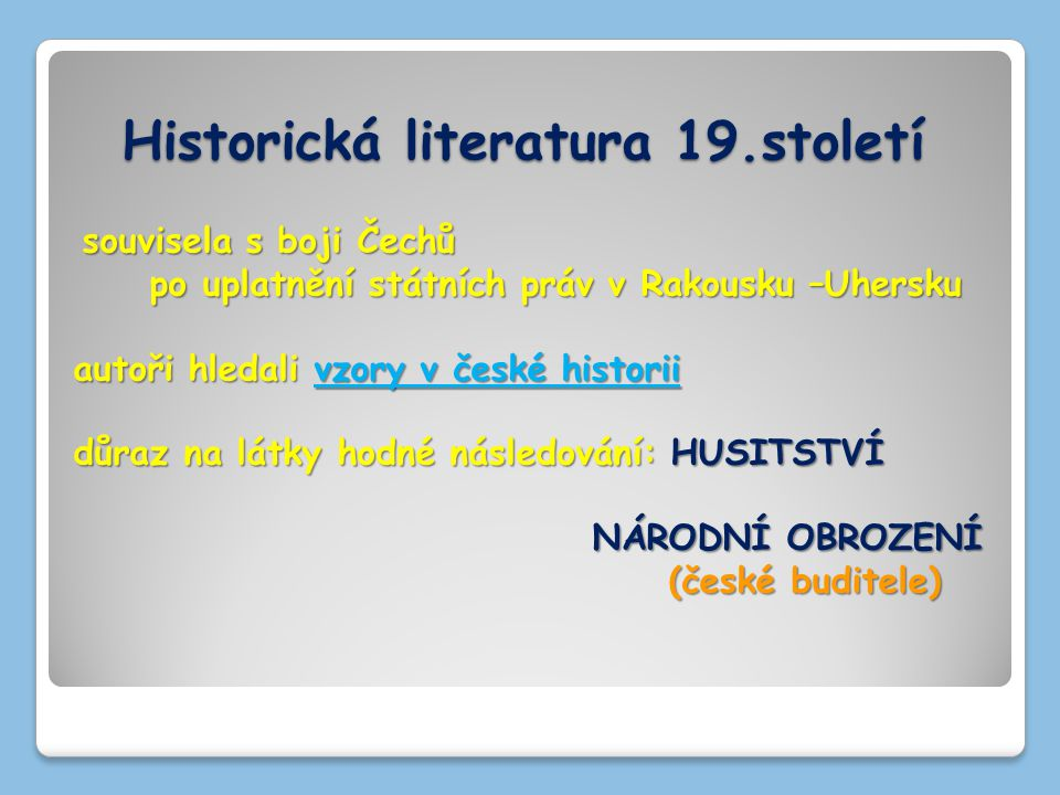 Historická literatura 19.století