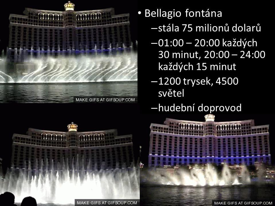 Bellagio fontána stála 75 milionů dolarů