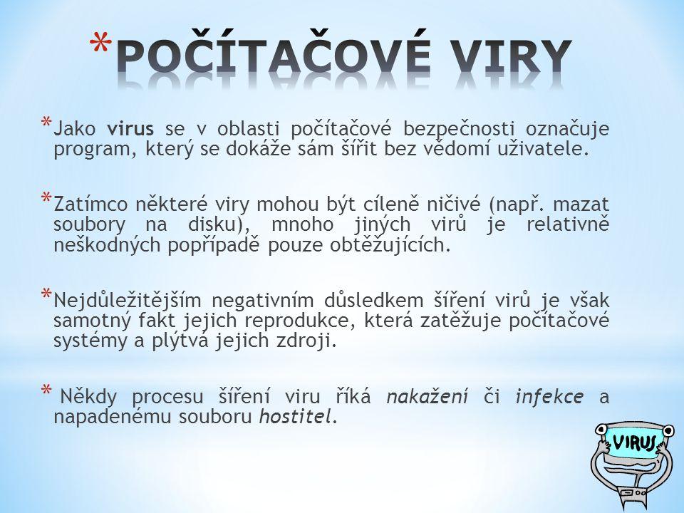 POČÍTAČOVÉ VIRY Jako virus se v oblasti počítačové bezpečnosti označuje program, který se dokáže sám šířit bez vědomí uživatele.