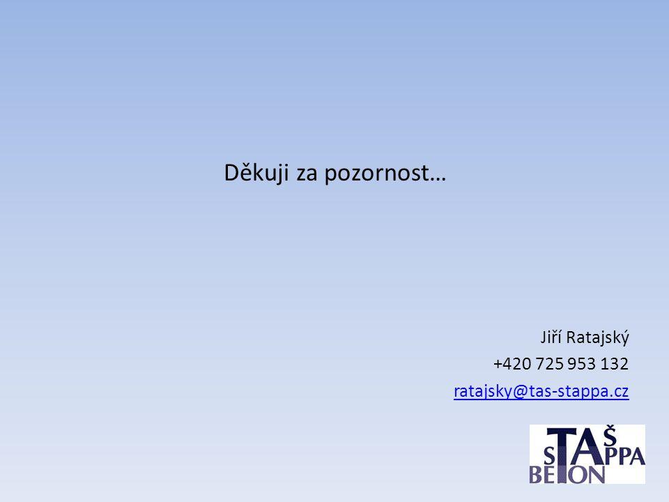 Děkuji za pozornost… Jiří Ratajský +420 725 953 132