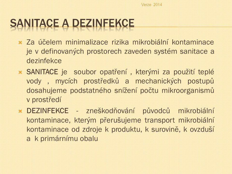 Verze 2014 Sanitace a dezinfekce.