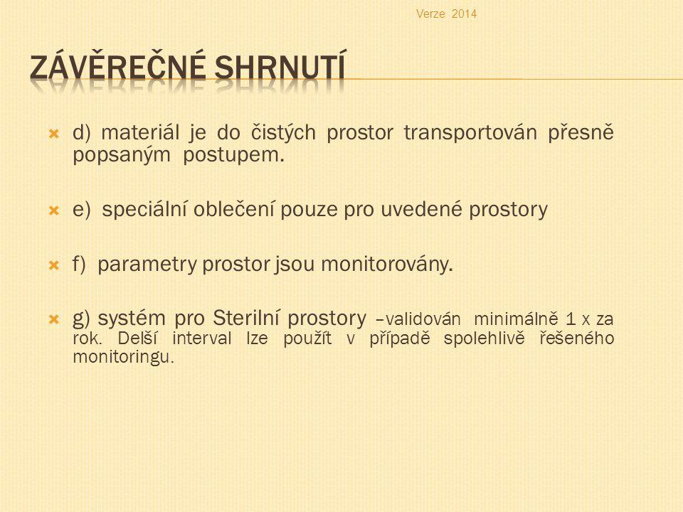 Verze 2014 Závěrečné shrnutí. d) materiál je do čistých prostor transportován přesně popsaným postupem.