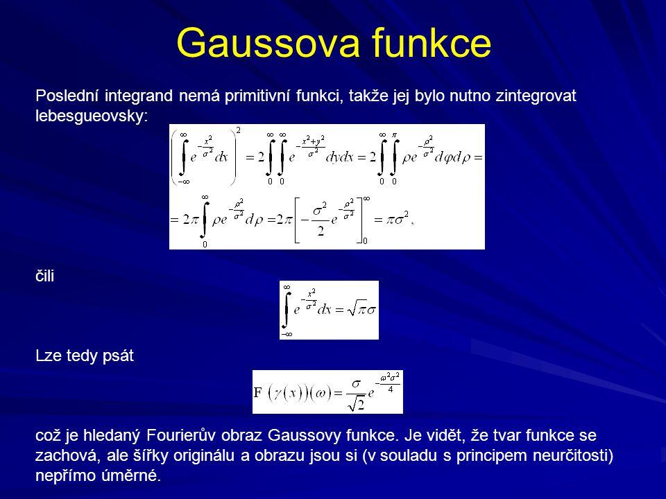 Gaussova funkce Poslední integrand nemá primitivní funkci, takže jej bylo nutno zintegrovat lebesgueovsky: