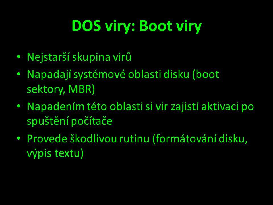 DOS viry: Boot viry Nejstarší skupina virů