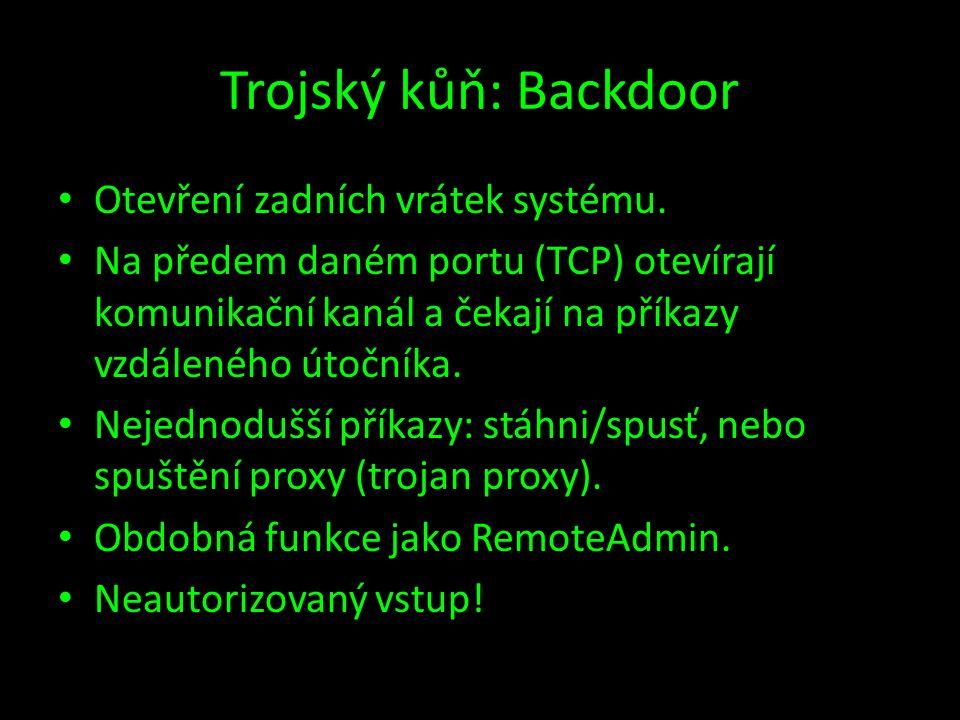 Trojský kůň: Backdoor Otevření zadních vrátek systému.
