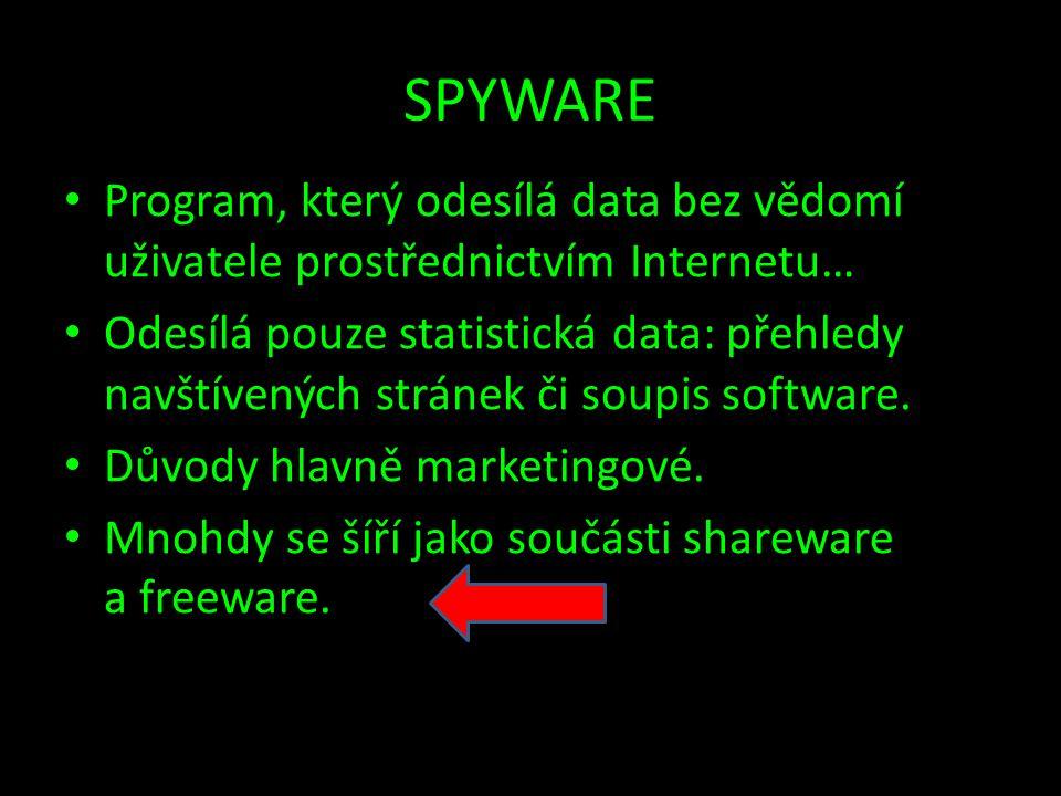SPYWARE Program, který odesílá data bez vědomí uživatele prostřednictvím Internetu…
