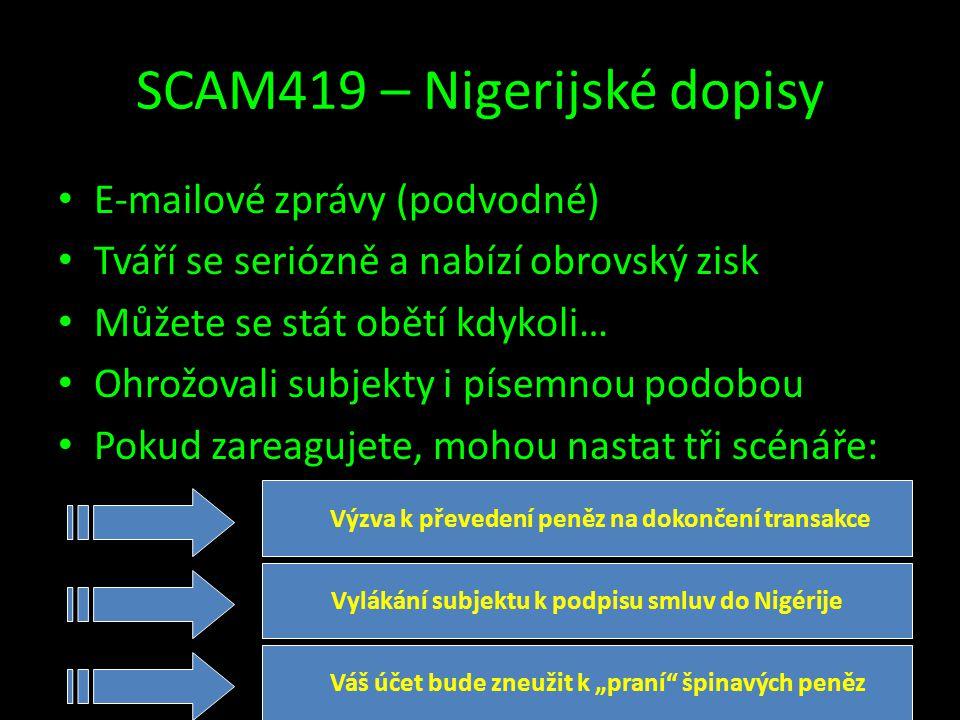 SCAM419 – Nigerijské dopisy