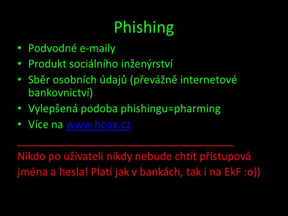 Phishing Podvodné e-maily Produkt sociálního inženýrství