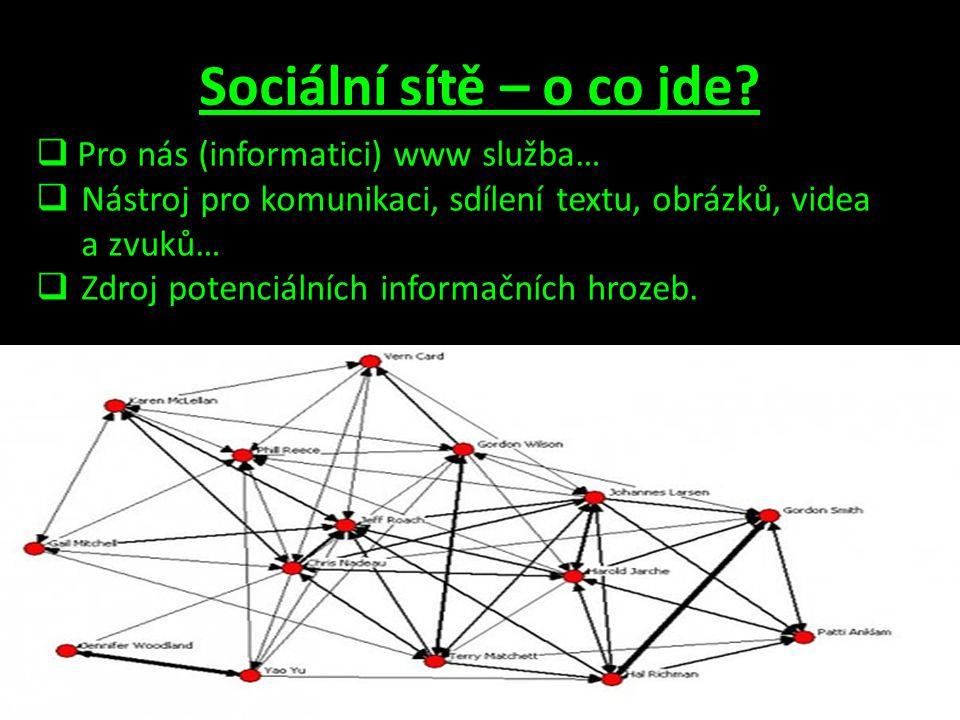 Sociální sítě – o co jde Pro nás (informatici) www služba…
