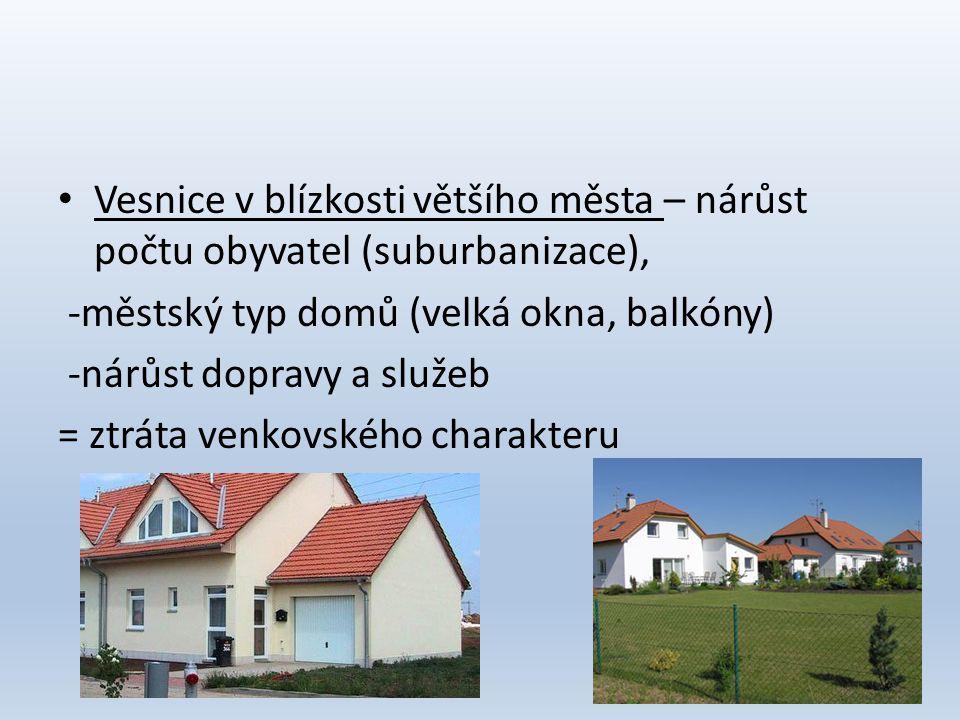 Vesnice v blízkosti většího města – nárůst počtu obyvatel (suburbanizace),