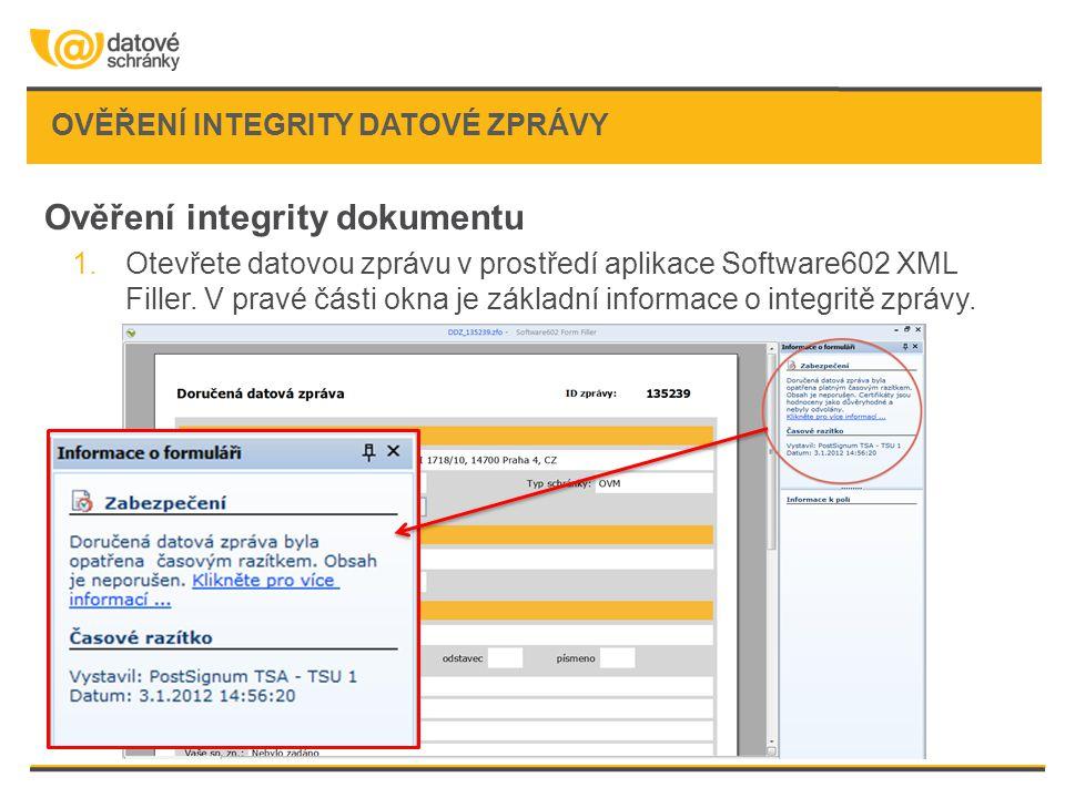 Ověření integrity datové zprávy