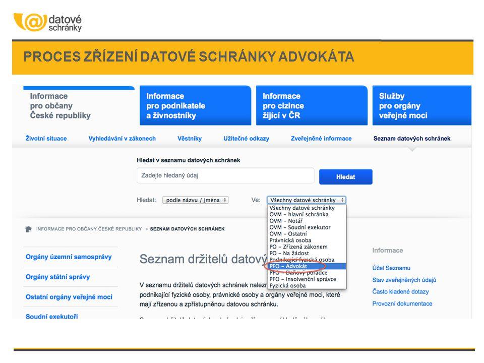 proces zřízení datové schránky advokáta