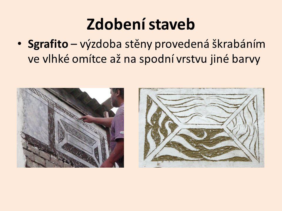 Zdobení staveb Sgrafito – výzdoba stěny provedená škrabáním ve vlhké omítce až na spodní vrstvu jiné barvy.