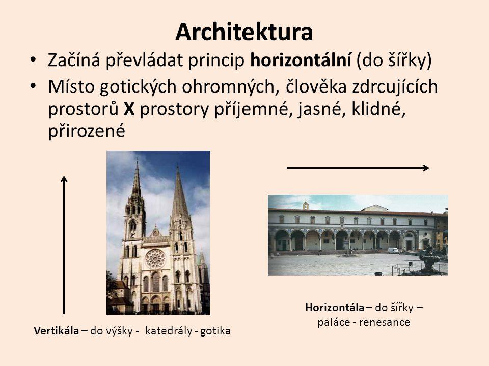 Architektura Začíná převládat princip horizontální (do šířky)