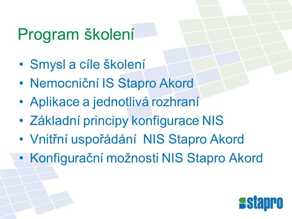 Program školení Smysl a cíle školení Nemocniční IS Stapro Akord