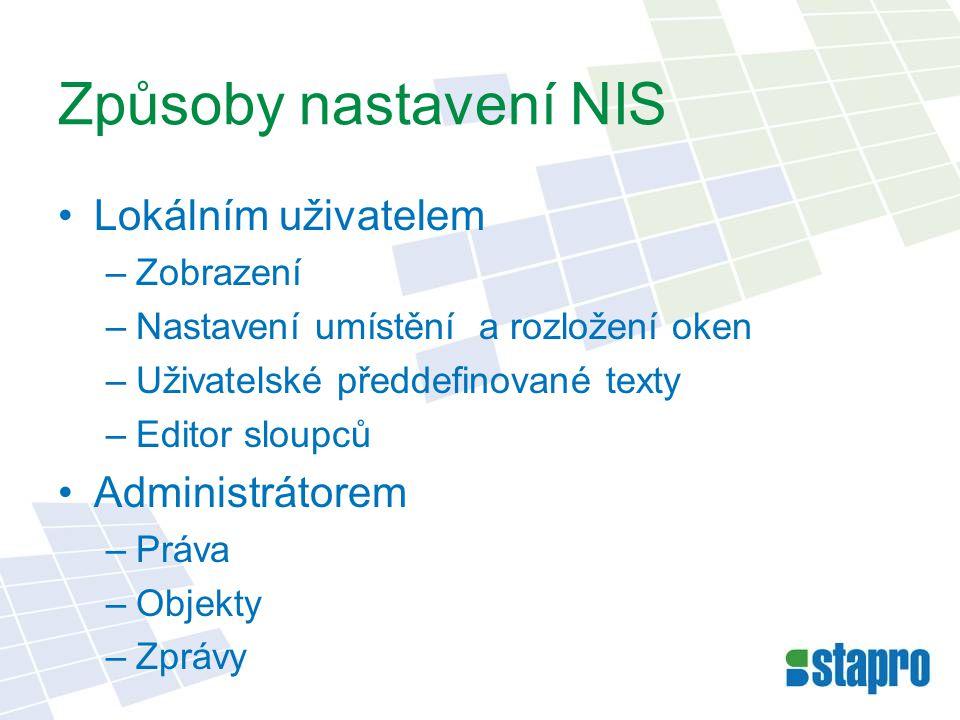 Způsoby nastavení NIS Lokálním uživatelem Administrátorem Zobrazení