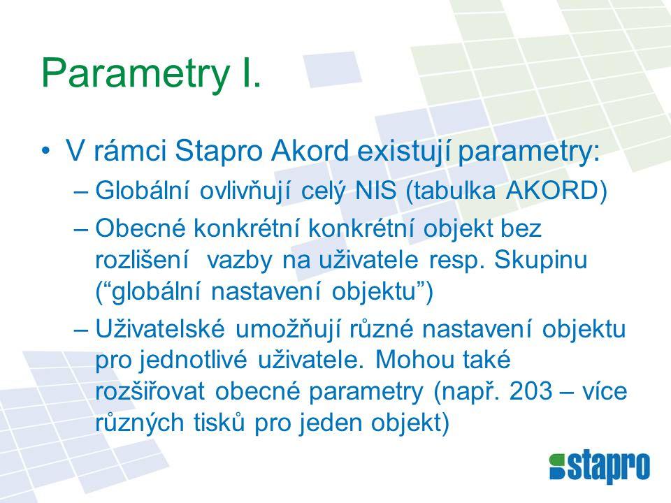 Parametry I. V rámci Stapro Akord existují parametry:
