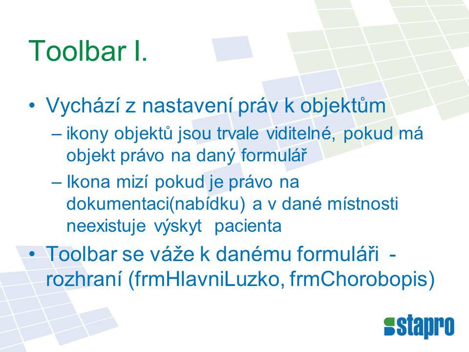 Toolbar I. Vychází z nastavení práv k objektům