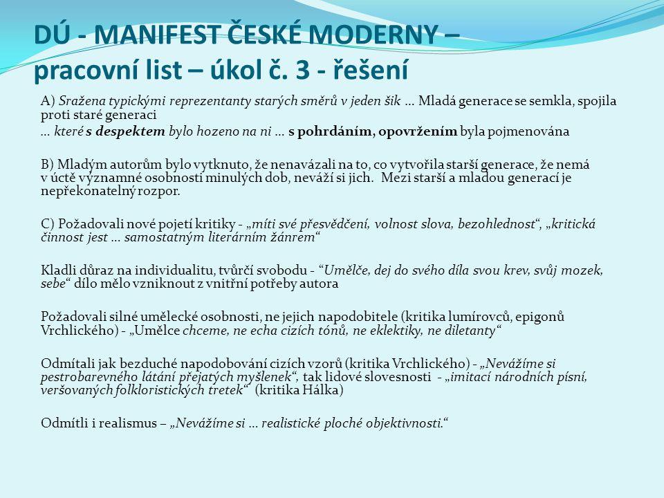 DÚ - MANIFEST ČESKÉ MODERNY – pracovní list – úkol č. 3 - řešení