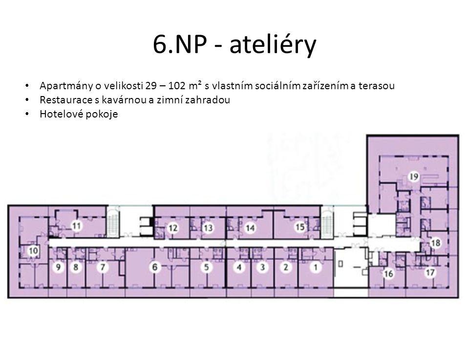 6.NP - ateliéry Apartmány o velikosti 29 – 102 m² s vlastním sociálním zařízením a terasou. Restaurace s kavárnou a zimní zahradou.