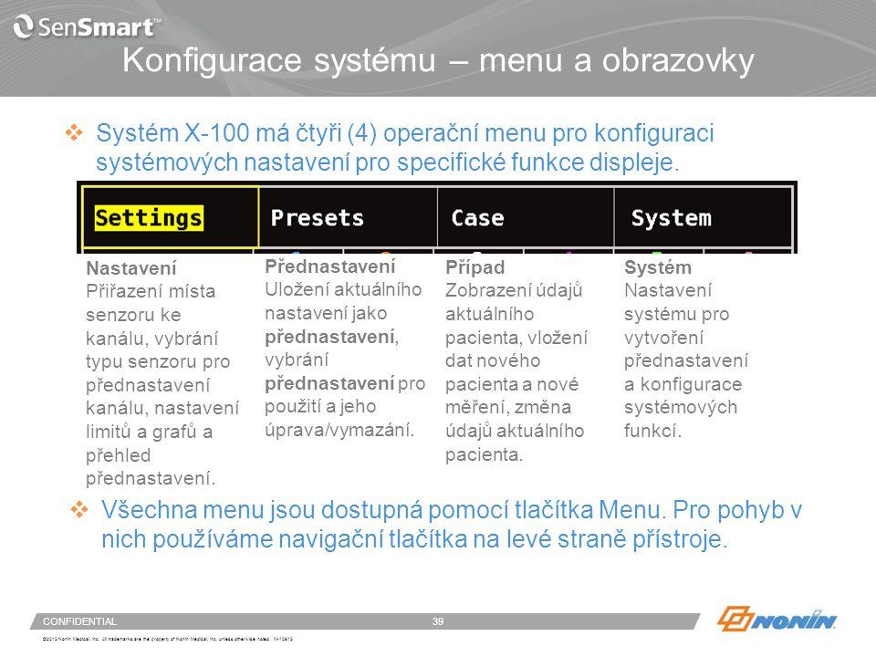 Konfigurace systému – menu nastavení
