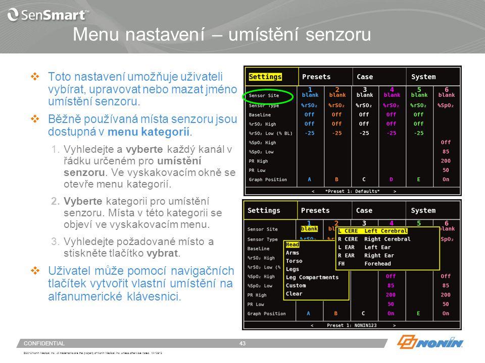 Kategorie umístění senzoru