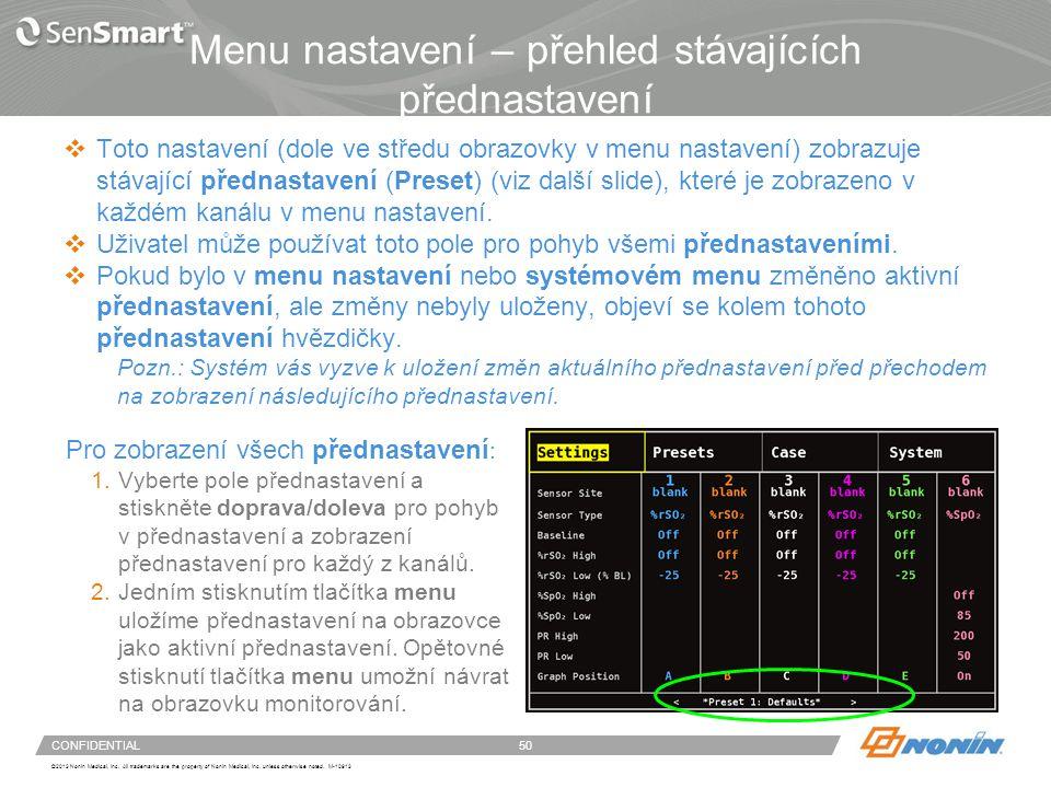Konfigurace systému – menu přednastavení