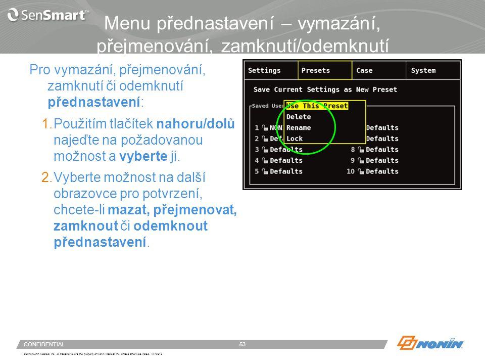 Nastavení systému – menu případu