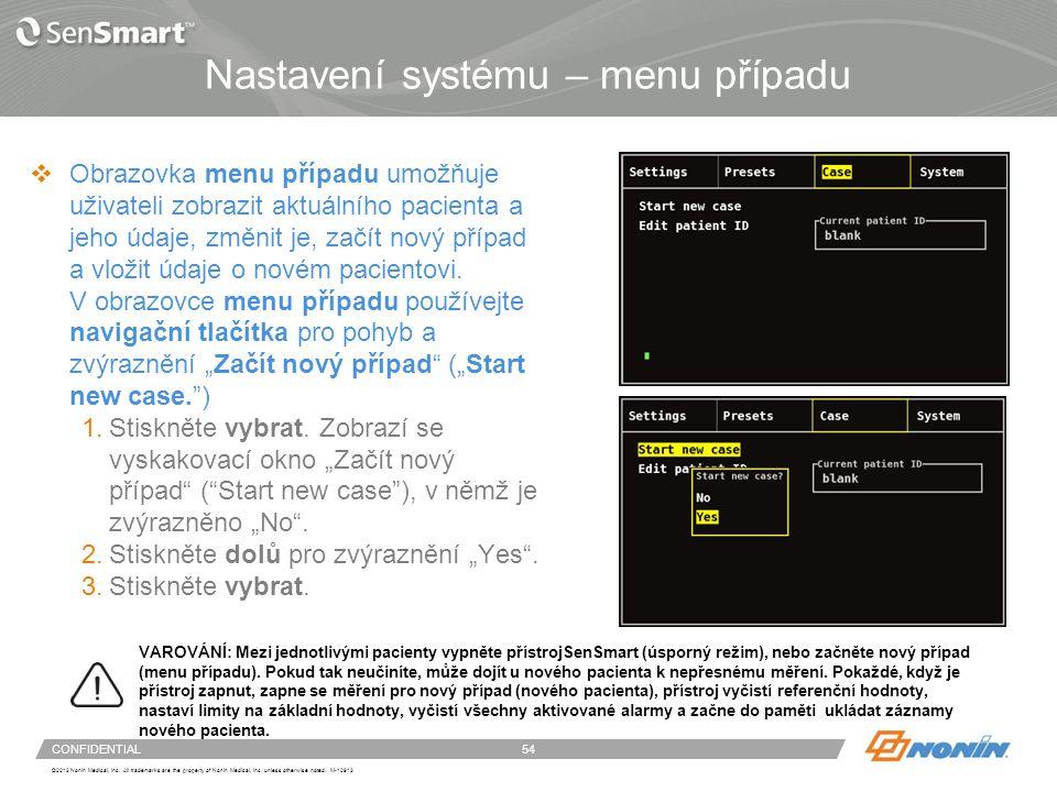 Nastavení systému – menu případu pokračování