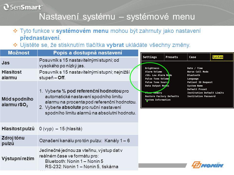 Režimy výstupů systémových dat