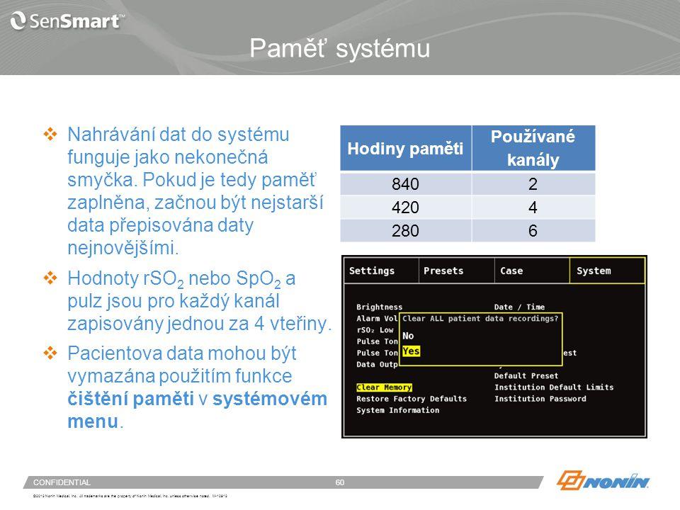 Systémové menu – čištění paměti