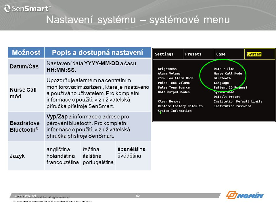 Nastavení systému – systémové menu