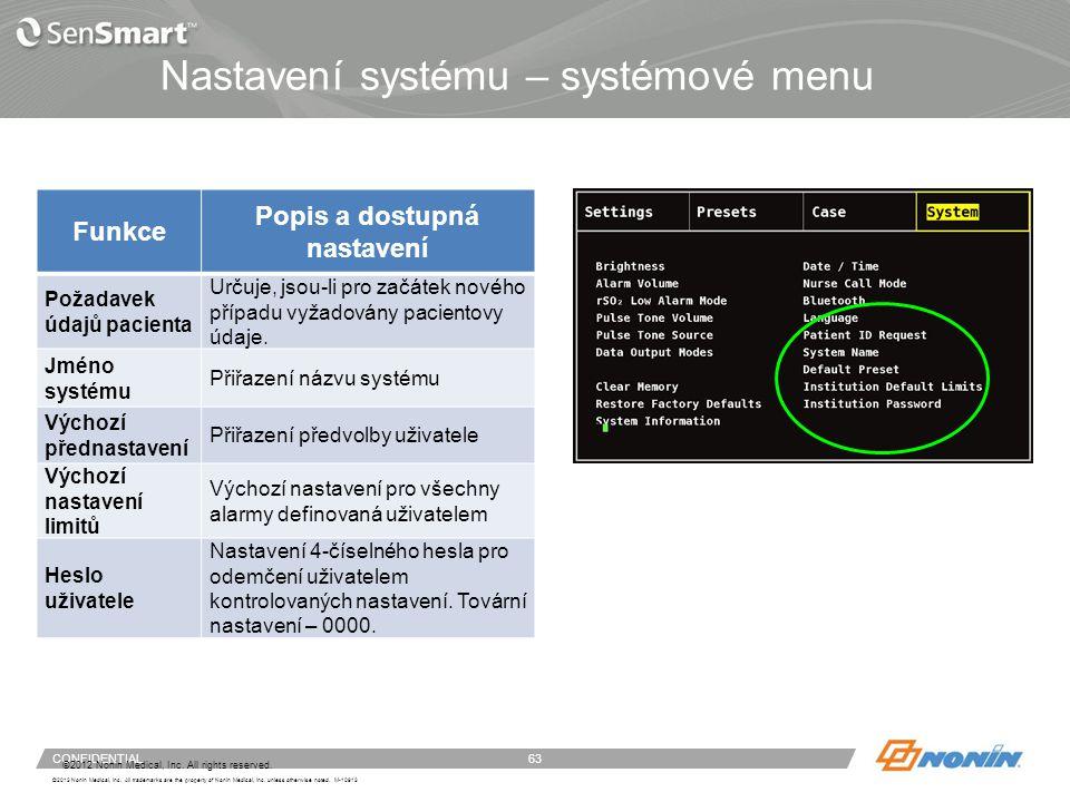 Systémové menu – datum/čas