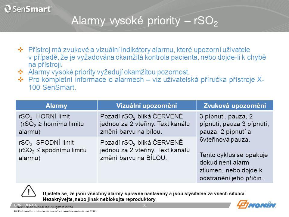 Alarmy vysoké priority – SpO2 a kritický stav baterie