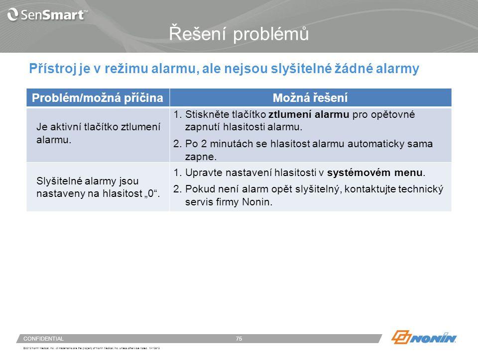 Problém/možná příčina Problém/možná příčina