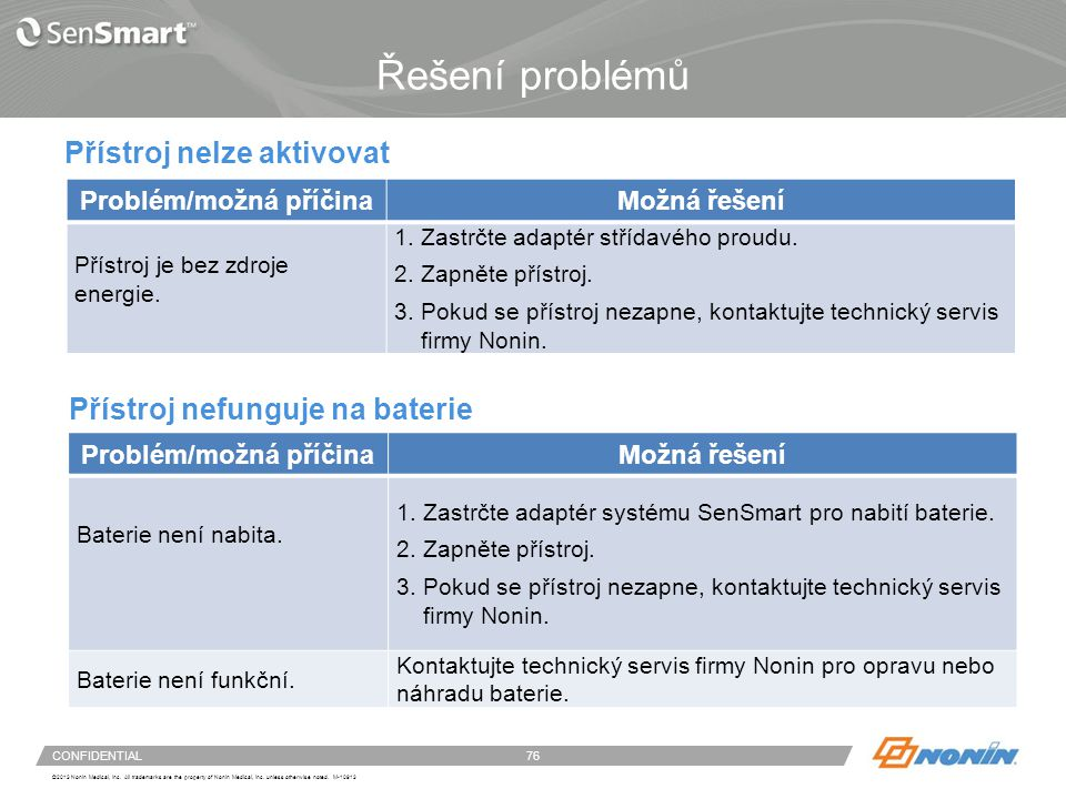 Čištění částí přístroje a senzorů