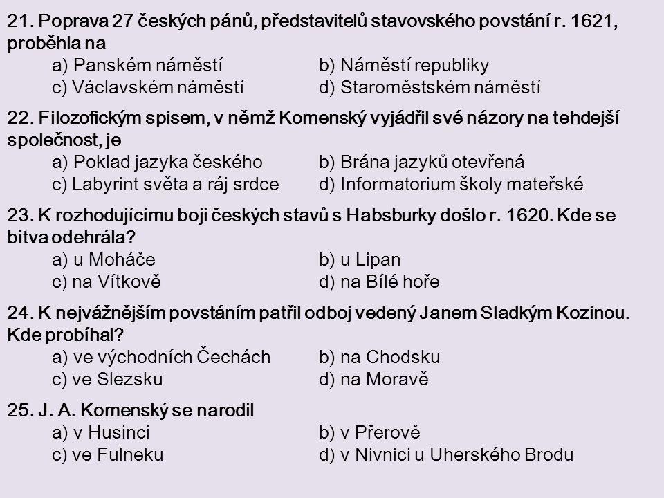 21. Poprava 27 českých pánů, představitelů stavovského povstání r