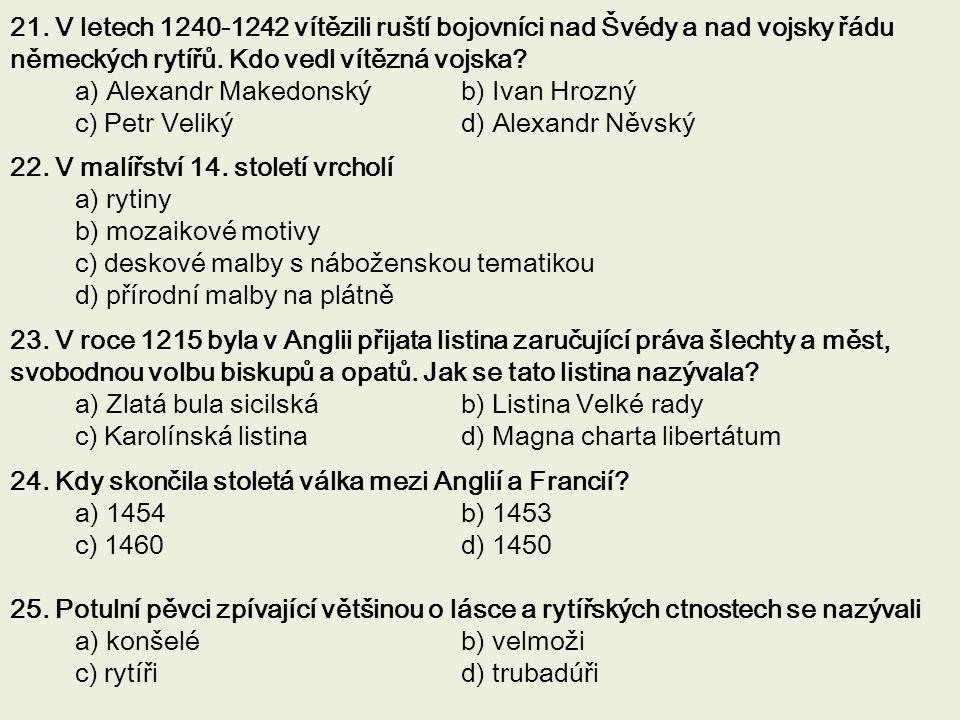21. V letech 1240-1242 vítězili ruští bojovníci nad Švédy a nad vojsky řádu německých rytířů. Kdo vedl vítězná vojska