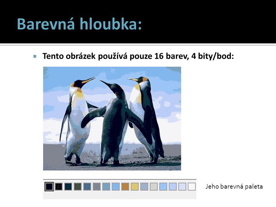 Barevná hloubka: Tento obrázek používá pouze 16 barev, 4 bity/bod: