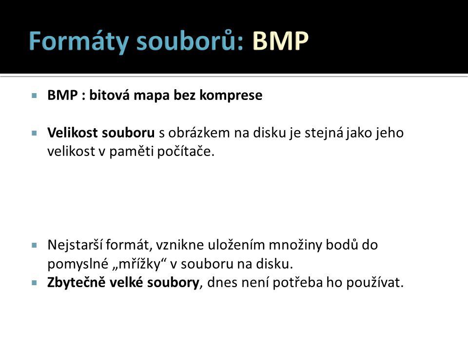 Formáty souborů: BMP BMP : bitová mapa bez komprese