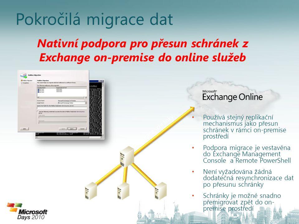 4/3/2017 8:34 PM Pokročilá migrace dat. Nativní podpora pro přesun schránek z Exchange on-premise do online služeb.