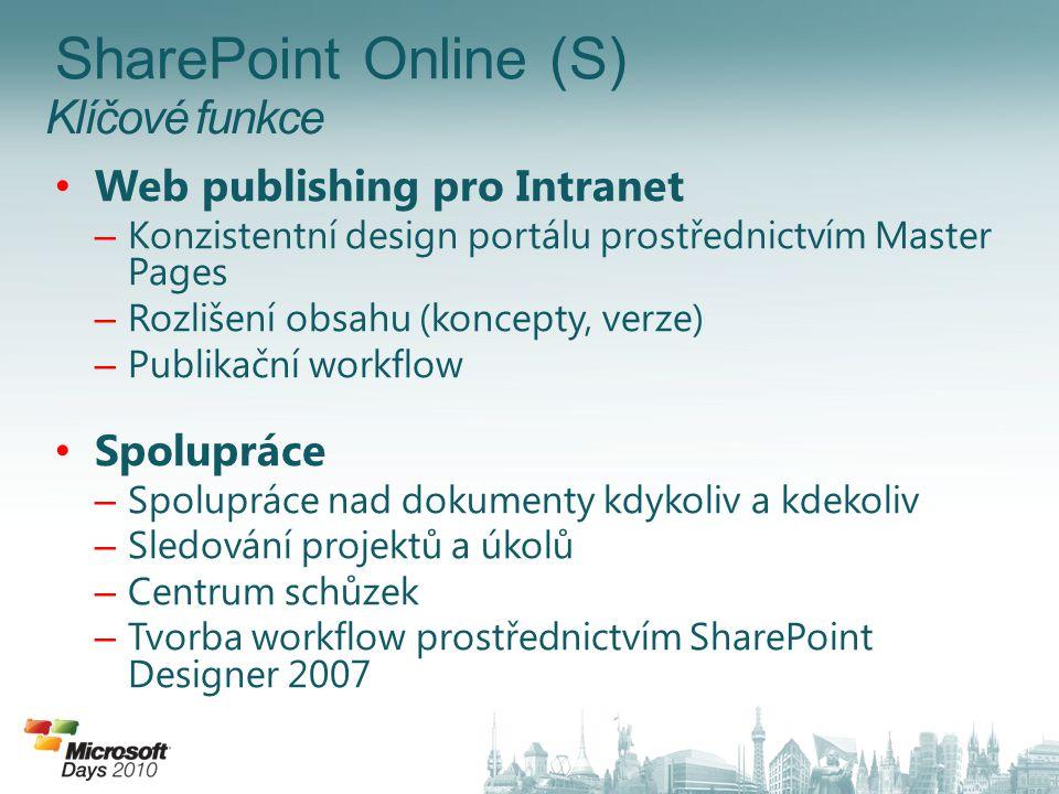 Klíčové funkce SharePoint Online (S) Web publishing pro Intranet