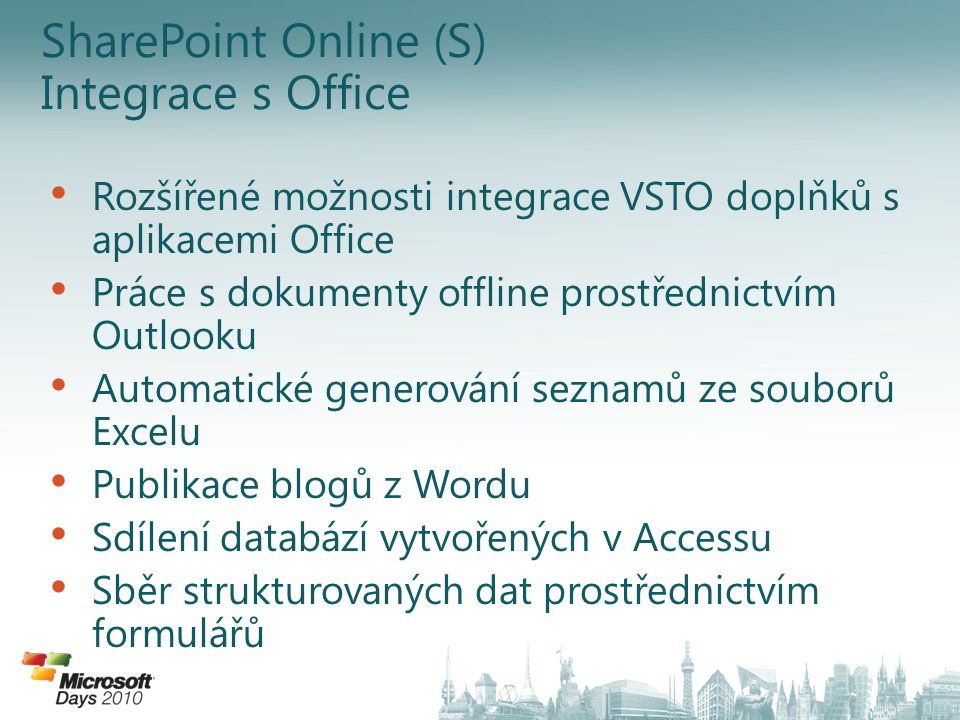 SharePoint Online (S) Integrace s Office