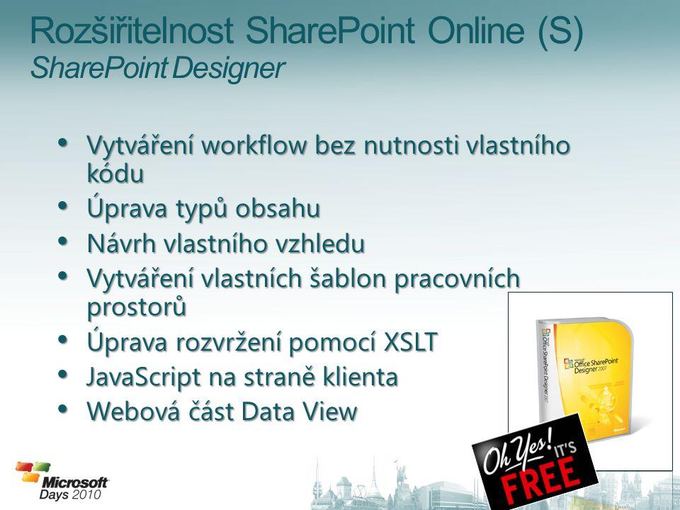 Rozšiřitelnost SharePoint Online (S) SharePoint Designer