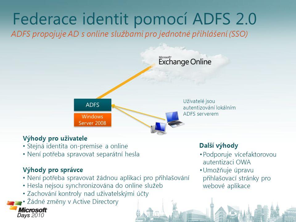 Federace identit pomocí ADFS 2.0